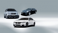 From left to right: Peugeot 2008; Nissan Altima; BMW 4 Series Coupe