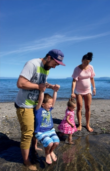 At home on the shore of Lake Taupo are Ariki Hamilton, Meriana Morehu and their children Ngaio and Bella.