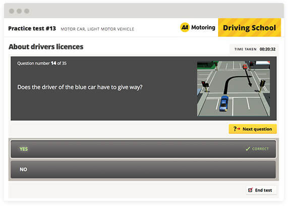 aa driving test 35 questions