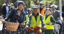 Julie Anne Genter and Linwood Avenue Primary School pupils test out Christchurch's new Shag Rock to City cycleway.